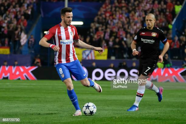 Saul Niguez of Atletico de Madrid in action during the UEFA Champions League Round of 16 second leg match between Club Atletico de Madrid and Bayer...