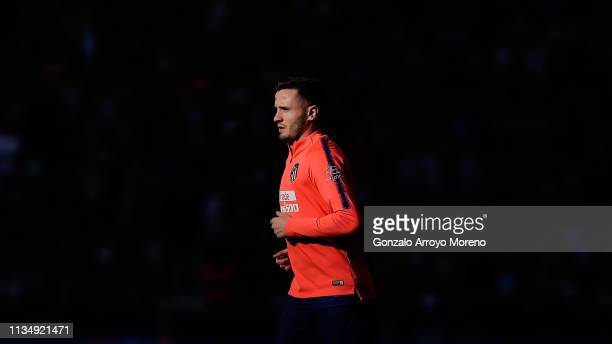 Saul Niguez of Atletico de Madrid leaves the pitch between halves during the La Liga match between Club Atletico de Madrid and CD Leganes at Wanda...