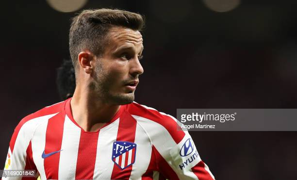 Saul Niguez of Atletico de Madrid looks on during the Liga match between Club Atletico de Madrid and Getafe CF at Wanda Metropolitano on August 18...