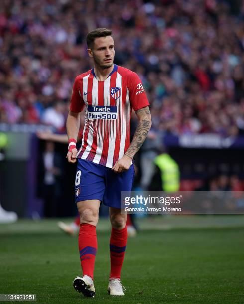 Saul Niguez of Atletico de Madrid reacts during the La Liga match between Club Atletico de Madrid and CD Leganes at Wanda Metropolitano on March 09...