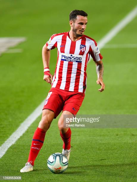 Saul Niguez of Atletico de Madrid runs with the ball during the Liga match between FC Barcelona and Club Atletico de Madrid at Camp Nou on June 30,...