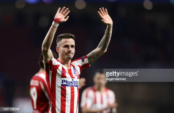 Saul Niguez of Atletico Madrid acknowledges the fans after the UEFA Champions League round of 16 first leg match between Atletico Madrid and...