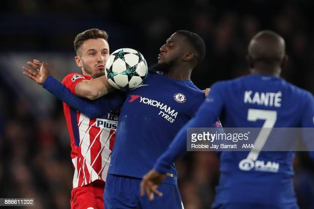 Saul Niguez of Atletico Madrid and Tiemoue Bakayoko of Chelsea during the UEFA Champions League group C match between Chelsea FC and Atletico Madrid...