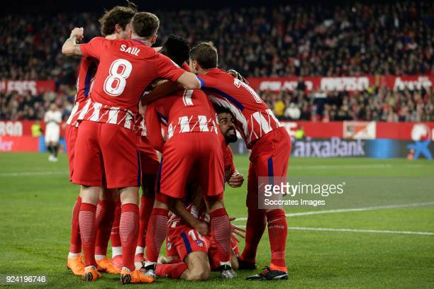 Saul Niguez of Atletico Madrid Antoine Griezmann of Atletico Madrid Diego Costa of Atletico Madrid during the La Liga Santander match between Sevilla...