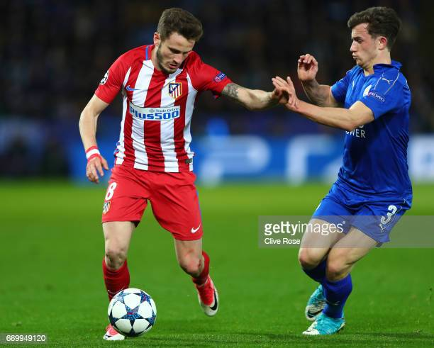 Saul Niguez of Atletico Madrid attempts to get past Ben Chilwell of Leicester City during the UEFA Champions League Quarter Final second leg match...