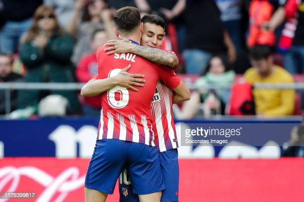 Saul Niguez of Atletico Madrid celebrate his goal with Angel Correa of Atletico Madrid during the La Liga Santander match between Atletico Madrid v...
