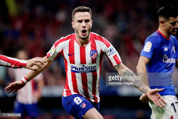 Saul Niguez of Atletico Madrid Celebrates 10 during the La Liga Santander match between Atletico Madrid v Athletic de Bilbao at the Estadio Wanda...
