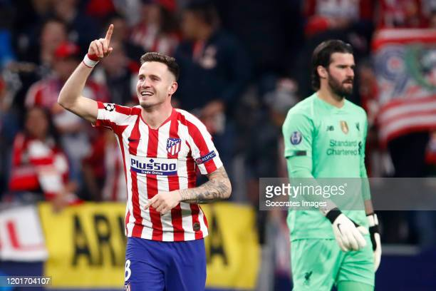 Saul Niguez of Atletico Madrid celebrates 10 during the UEFA Champions League match between Atletico Madrid v Liverpool at the Estadio Wanda...