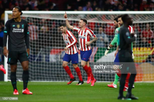 Saul Niguez of Atletico Madrid celebrates a goal during the UEFA Champions League football match round 16 played between Atletico de Madrid and...