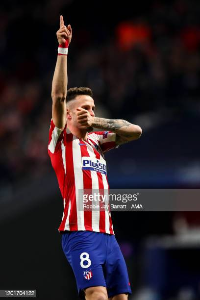 Saul Niguez of Atletico Madrid celebrates after scoring a goal to make it 10 during the UEFA Champions League round of 16 first leg match between...