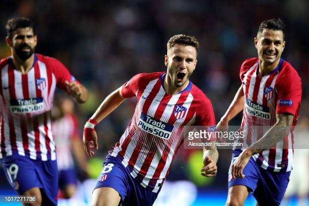 Saul Niguez of Atletico Madrid celebrates after scoring his sides third goal during the UEFA Super Cup between Real Madrid and Atletico Madrid at...