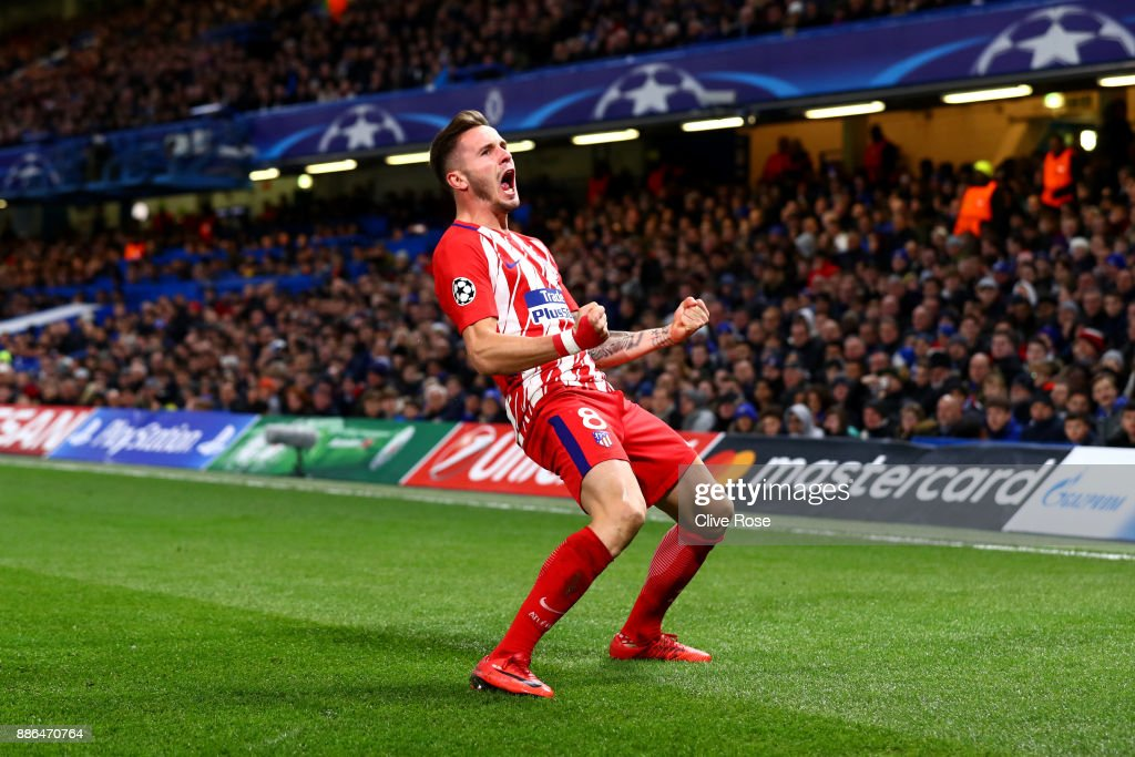 Saul Niguez of Atletico Madrid celebrates after scoring his sides first goal during the UEFA Champions League group C match between Chelsea FC and Atletico Madrid at Stamford Bridge on December 5, 2017 in London, United Kingdom.