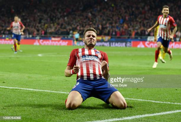 Saul Niguez of Atletico Madrid celebrates after scoring his team's first goal during the Group A match of the UEFA Champions League between Club...
