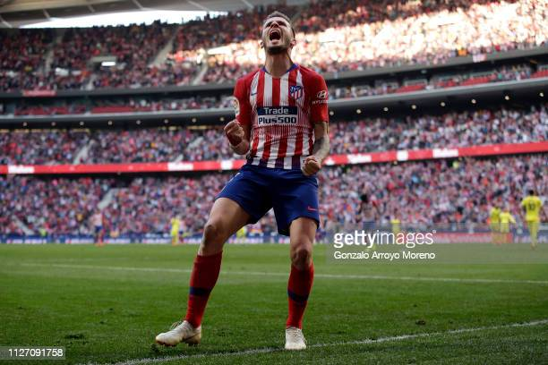 Saul Niguez of Atletico Madrid celebrates after scoring his team's second goal during the La Liga match between Club Atletico de Madrid and...
