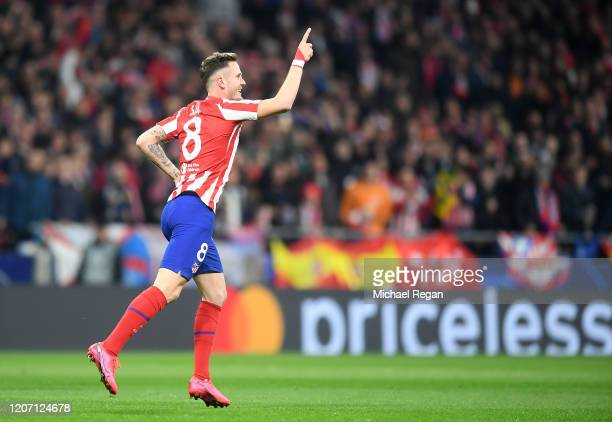 Saul Niguez of Atletico Madrid celebrates after scoring his team's first goal during the UEFA Champions League round of 16 first leg match between...