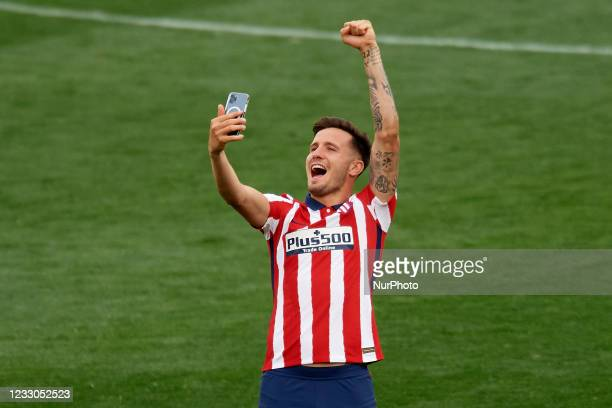 Saul Niguez of Atletico Madrid celebrates after winning the league championship after the La Liga Santander match between Real Valladolid CF and...