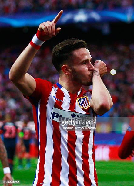 Saul Niguez of Atletico Madrid celebrates as he scores their first goal during the UEFA Champions League semi final first leg match between Club...