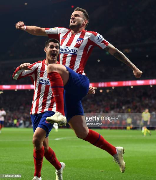 Saul Niguez of Atletico Madrid celebrates scoring his sides first goal during the La Liga match between Club Atletico de Madrid and Athletic Club at...