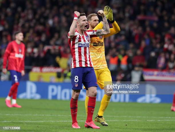 Saul Niguez of Atletico Madrid celebrates victory after the UEFA Champions League round of 16 first leg match between Atletico Madrid and Liverpool...