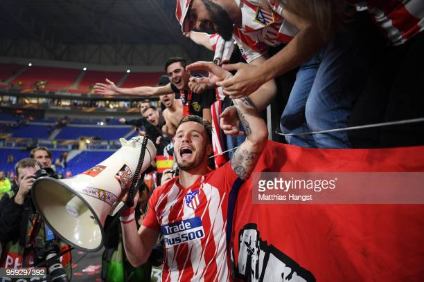 Saul Niguez of Atletico Madrid celebrates with fans after victory in the UEFA Europa League Final between Olympique de Marseille and Club Atletico de...