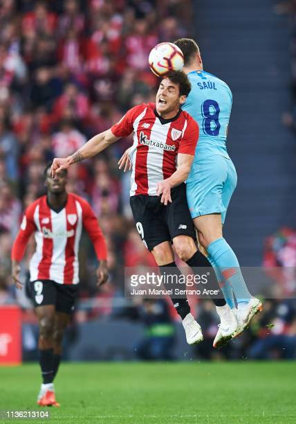 Saul Niguez of Atletico Madrid duels for the ball with Ibai Gomez of Athletic Club during the La Liga match between Athletic Club and Club Atletico...