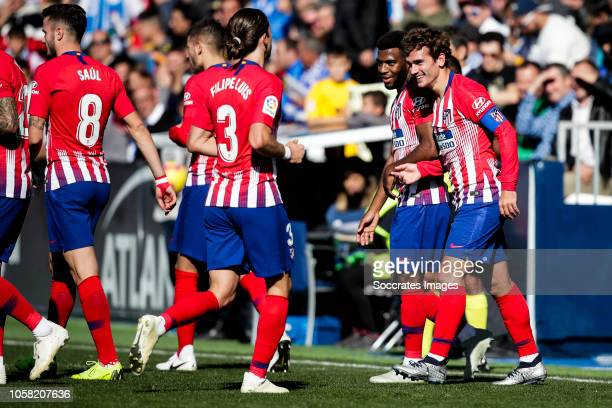 Saul Niguez of Atletico Madrid Filipe Luis of Atletico Madrid Thomas Lemar of Atletico Madrid Antoine Griezmann of Atletico Madrid during the La Liga...