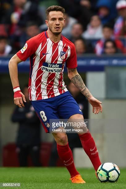 Saul Niguez of Atletico Madrid in action during the La Liga match between Atletico Madrid and Celta de Vigo at Wanda Metropolitano Stadium on March...