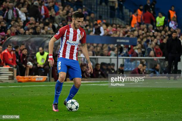 Saul Niguez of Atletico Madrid in action during the UEFA Champions League Group D match between Club Atletico de Madrid and FC Rostov at Vincente...