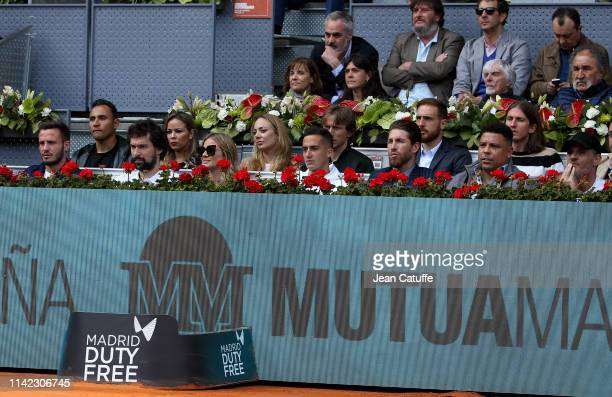 Saul Niguez of Atletico Madrid Keylor Navas of Real Madrid Sergio Llull of Real Madrid Baloncesto and his wife Almudena Canovas Luka Modric of Real...