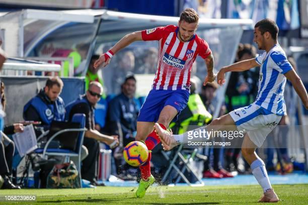 Saul Niguez of Atletico Madrid Oscar Rodriguez of Leganes during the La Liga Santander match between Leganes v Atletico Madrid at the Estadio...