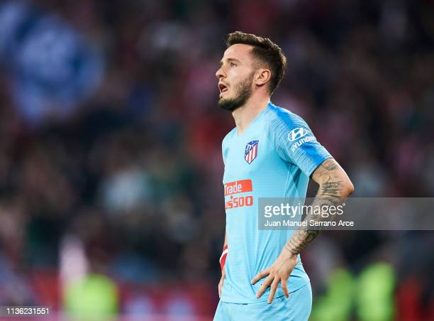 Saul Niguez of Atletico Madrid reacts during the La Liga match between Athletic Club and Club Atletico de Madrid at San Mames Stadium on March 16...