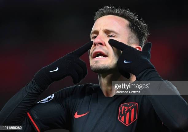 Saul Niguez of Atletico Madrid reacts during the UEFA Champions League round of 16 second leg match between Liverpool FC and Atletico Madrid at...