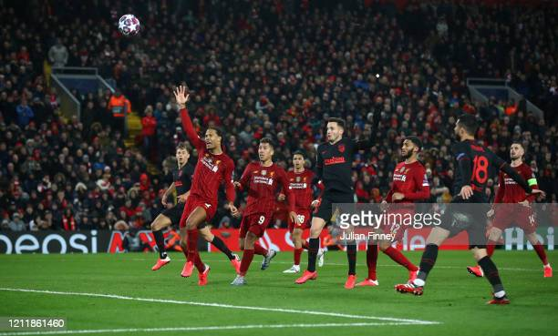 Saul Niguez of Atletico Madrid scores his sides first goal but it is later ruled out for offside during the UEFA Champions League round of 16 second...