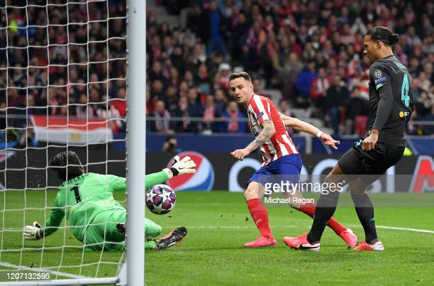 Saul Niguez of Atletico Madrid scores his team's first goal during the UEFA Champions League round of 16 first leg match between Atletico Madrid and...