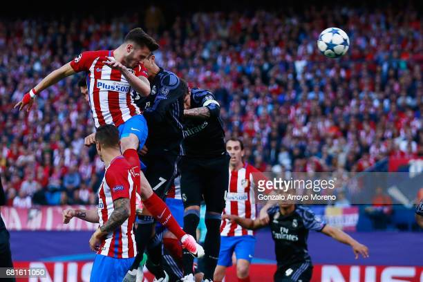 Saul Niguez of Atletico Madrid scores his team's opening goal during the UEFA Champions League Semi Final second leg match between Club Atletico de...