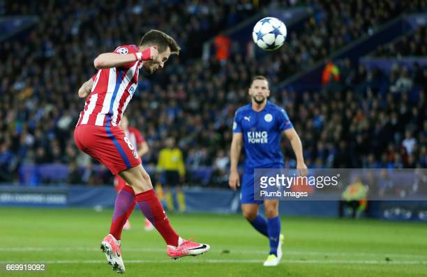 Saul Niguez of Atletico Madrid scores with a header to make it 01 during the UEFA Champions League Quarter Final Second Leg match between Leicester...