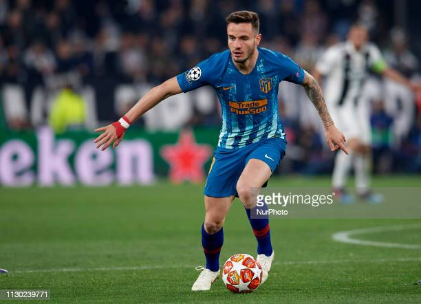 Saul Niguez of Atletico Madridcontrols the ball during the UEFA Champions League Round of 16 Second Leg match between Juventus and Club de Atletico...