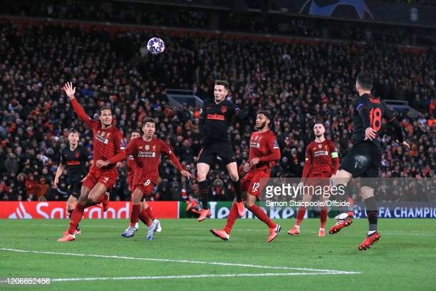 Saul Niguez of Atletico scores a goal but it is later called offside during the UEFA Champions League round of 16 second leg match between Liverpool...