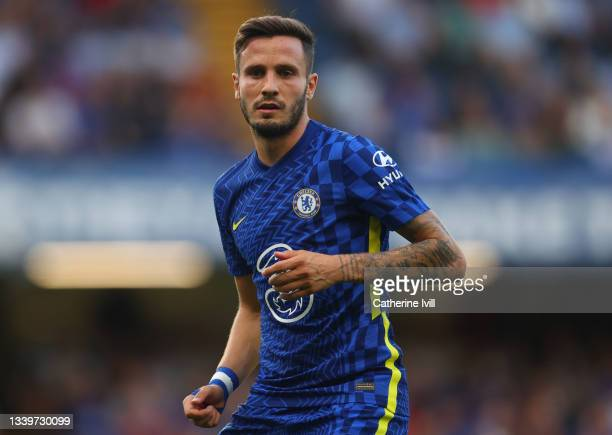 Saul Niguez of Chelsea during the Premier League match between Chelsea and Aston Villa at Stamford Bridge on September 11, 2021 in London, England.