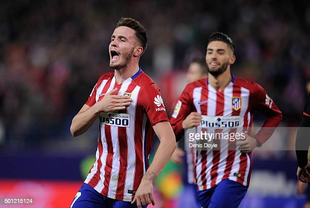 Saul Niguez of Club Atletico de Madrid celebrates after scoring his team's opening goal during the La Liga match between Club Atletico de Madrid and...