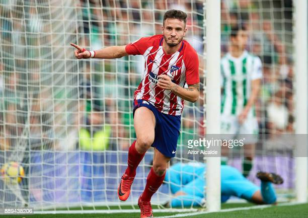 Saul Niguez of Club Atletico de Madrid celebrates after scoring the first goal for Club Atletico de Madrid during the La Liga match between Real...