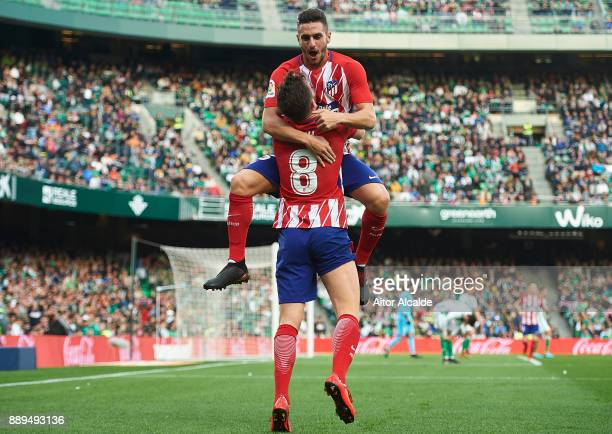 Saul Niguez of Club Atletico de Madrid celebrates after scoring the first goal for Club Atletico de Madrid withKoke Resurreccion of Club Atletico de...