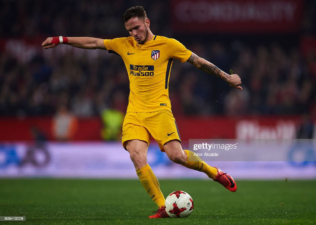 Saul Niguez of Club Atletico de Madrid in action during the Copa del Rey, Quarter Final, second Leg match between Sevilla FC and Atletico de Madrid at Estadio Ramon Sanchez Pizjuan on January 23, 2018 in Seville, Spain.
