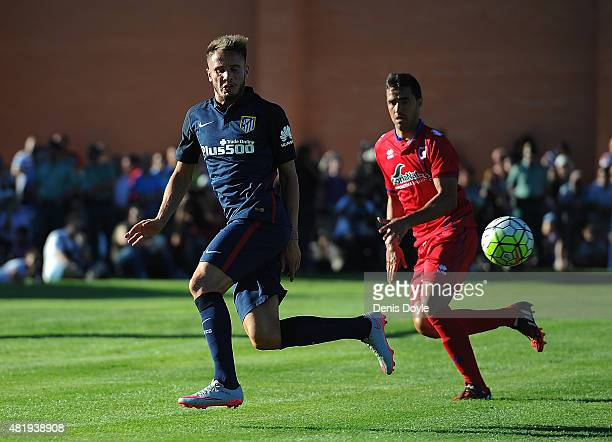 Saul Niguez of Club Atletico de Madrid in action during the Jesus Gil y Gil Memorial preseason friendly match between Numancia and Club Atletico de...