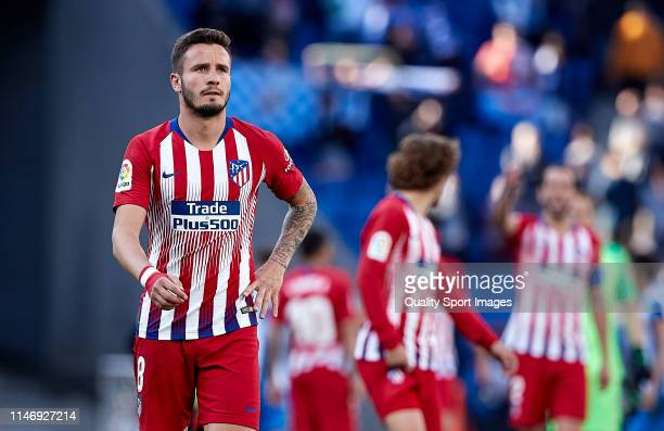 Saul Niguez of Club Atletico de Madrid reacts at the end of the match the La Liga match between RCD Espanyol and Club Atletico de Madrid at RCDE...
