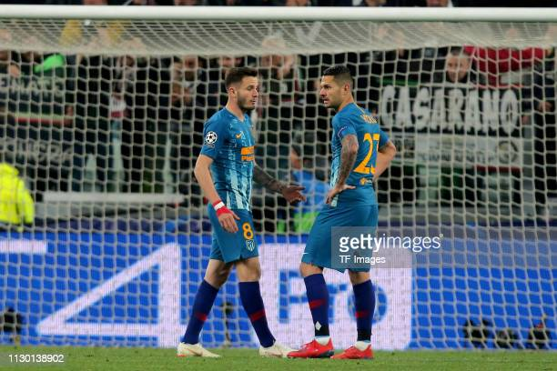 Saul Niguez of Club de Atletico Madrid and Vitolo of Club de Atletico Madrid look dejected during the UEFA Champions League Round of 16 Second Leg...