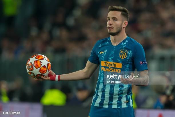 Saul Niguez of Club de Atletico Madrid gestures during the UEFA Champions League Round of 16 Second Leg match between Juventus and Club de Atletico...