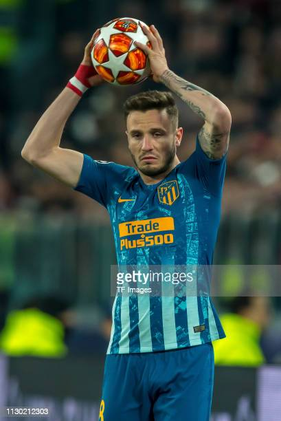 Saul Niguez of Club de Atletico Madrid throwin during the UEFA Champions League Round of 16 Second Leg match between Juventus and Club de Atletico...