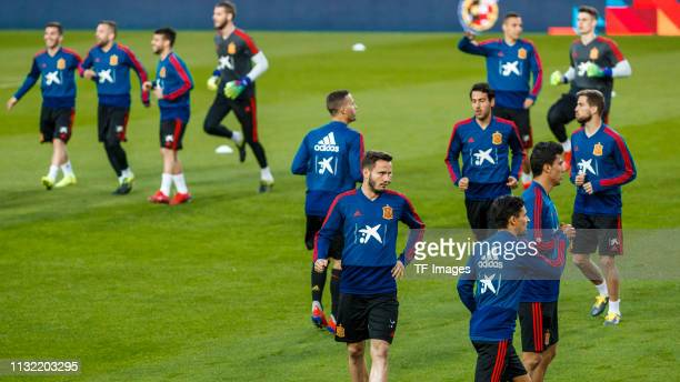 Saul Niguez of Spain and Dani Arejo of Spain look on during the Spain training session at Mestalla Stadium on March 22 2019 in Valencia Spain