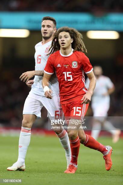 Saul Niguez of Spain and Ethan Ampadu of Wales during the International Friendly match between Wales and Spain on October 11 2018 in Cardiff United...